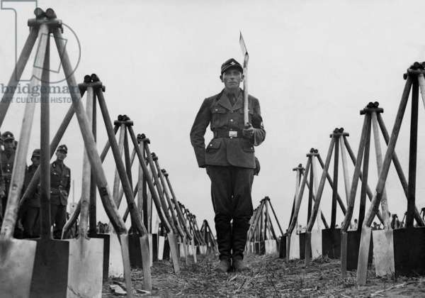 A Member of the Reich Labor Service, 1936 (b/w photo)