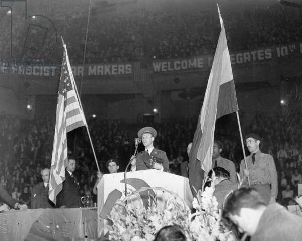 Communist meeting in New York, 1938 (b/w photo)