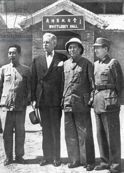 Chou en Lai, Patrick Hurley, Mao Zedong and Chiang Ching in China, 1945 (b/w photo)