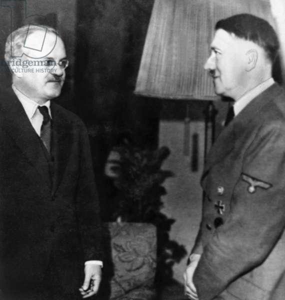 Vyacheslav Mikhailovich Molotov, Foriegn Secretary of the Soviet Union, meeting with Adolf Hitler (b/w photo)