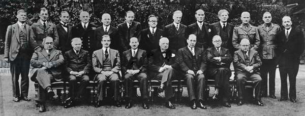 The cabinet of Prime Minister Winston Churchill, 1941 (b/w photo)