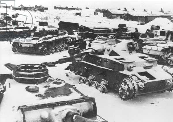 Destroyed tanks in Stalingrad, 1943 (b/w photo)