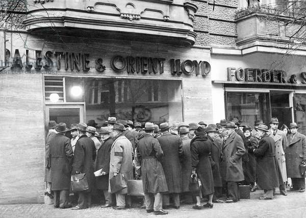 Jews queuing outside a travel bureau of Palestine & Orient LLoyd hoping to emigrate from Germany, Berlin, 22nd January 1939 (b/w photo)