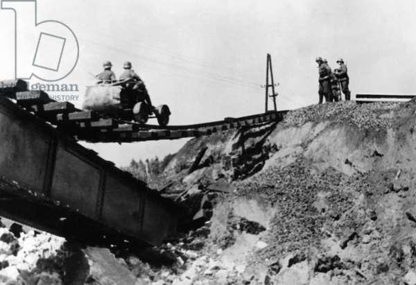German railway engineers in France, 1940 (b/w photo)
