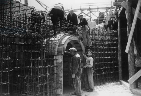 Construction of a German coastal fortification at the Atlantic Wall, 1942 (b/w photo)
