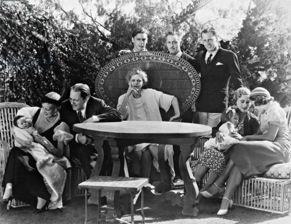 Ethel Barrymore and John Barrymore with family, 1932 (b/w photo)