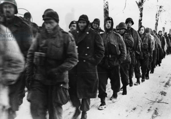 American and British prisoners during the Battle of the Bulge, 1945 (b/w photo)