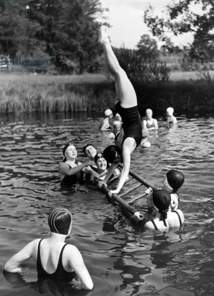 BDM (League of German Girls) girls in training, 1937