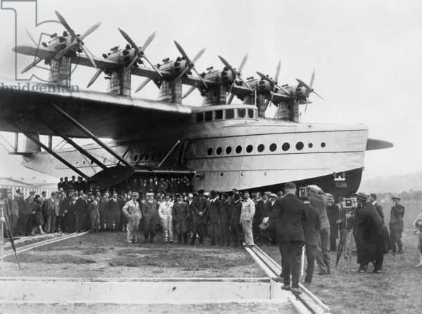 Crew and passengers in front of a Dornier Do X, 1929 (b/w photo)
