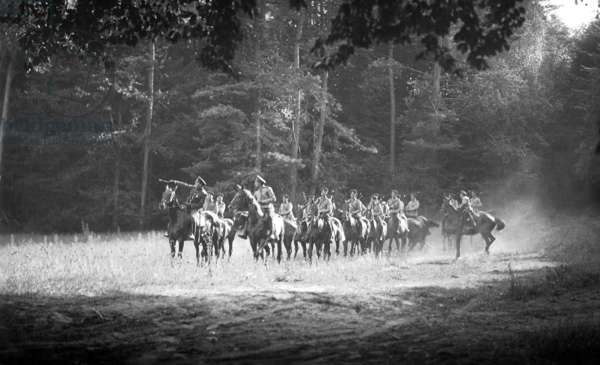 World War 1: Russian cavalry at the Battle of Grunwald, where the Russian army was surrounded by troops under Hindenburg and Ludendorff and defeated, 1914 (b/w photo)