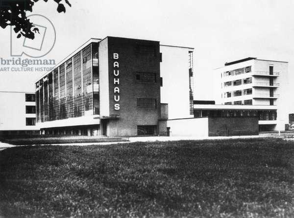 The Bauhaus building in Dessau (b/w photo)