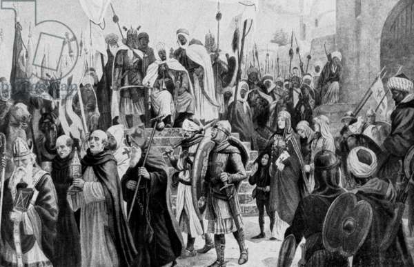 Conquest of Jerusalem by Saladin (b/w photo)