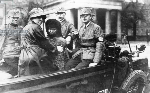 Women in a propaganda car of the NSDAP, 1920s (b/w photo)