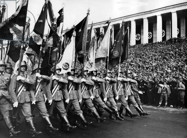 Flag parade of the Reichswehr at the Nuremberg Rally, 1936 (b/w photo)