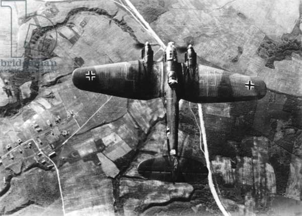 A Heinkel He 111 on the Eastern Front, 1941 (b/w photo)