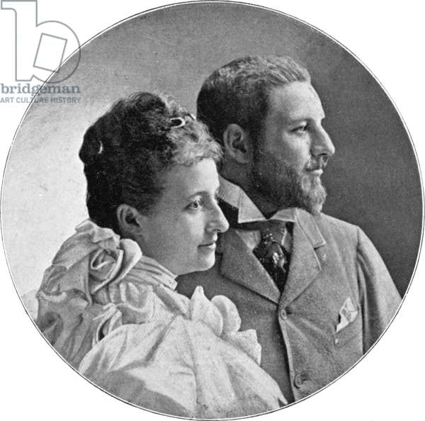 The ducal couple Maria Dorothea and Philipp of Orleans, c.1900 (b/w photo)
