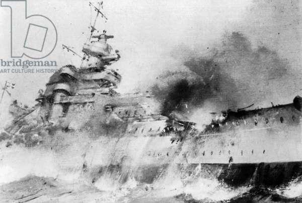Drawing of the sinking battleship 'Bismarck', 27th May 1941 (b/w photo)