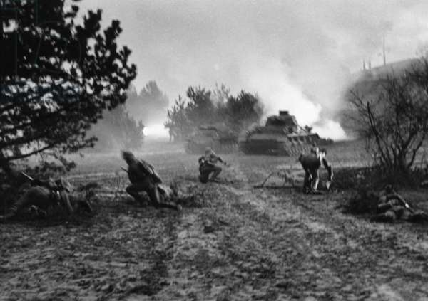 Tank regiment in combat during the German invasion of Poland, 1939 (b/w photo)