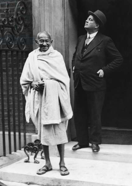 Mahatma Gandhi in front of 10 Downing Street, 1931 (b/w photo)