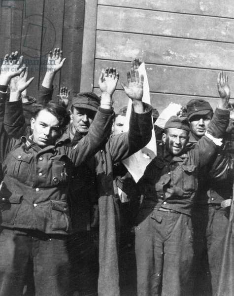 German soldiers surrendering at Prague Castle, 9th May 1945 (b/w photo)