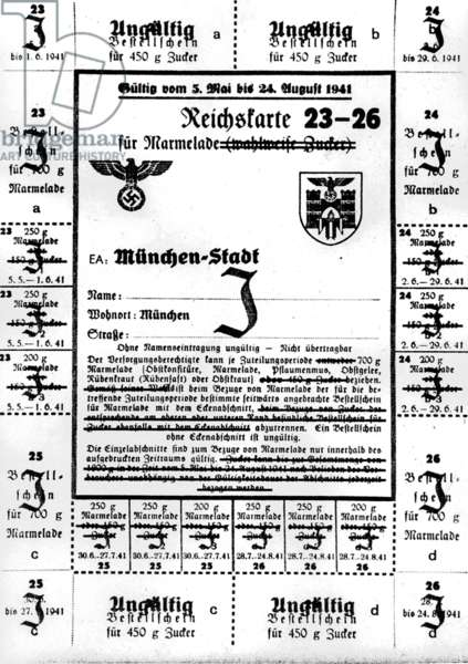 Food rationing card for Jews, Munich, Bavaria, 1941 (b/w photo)