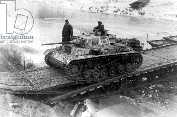 German tank Panzer III J type Tiger in Stalingrad, 1942-43 (b/w photo)