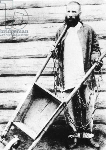 Convict in Siberia, 1890 (b/w photo)