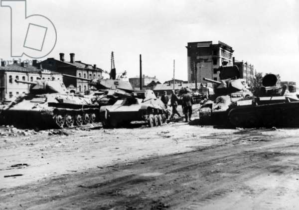 Downed Soviet tanks on the Eastern Front, July 1942