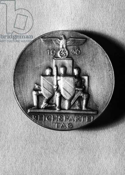 Badge for the Nuremberg Rally, 1936 (b/w photo)