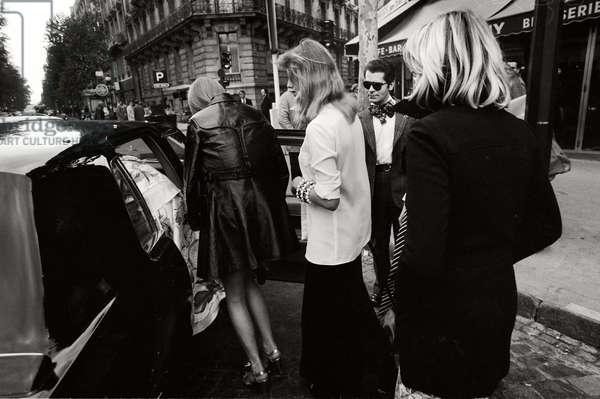 Karl Lagerfeld with Models in Paris, 1972