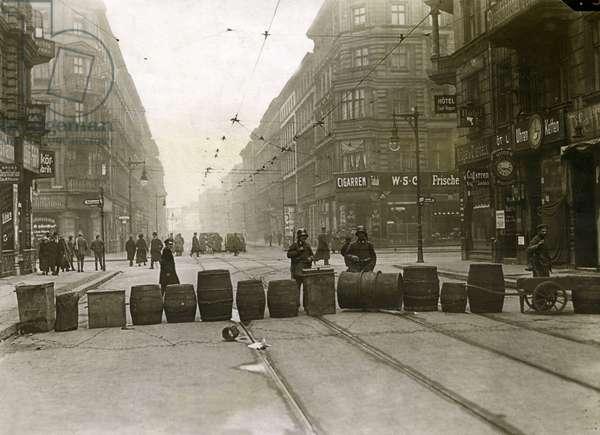 Road blockade to the Andreasstrasse in Berlin, 1919