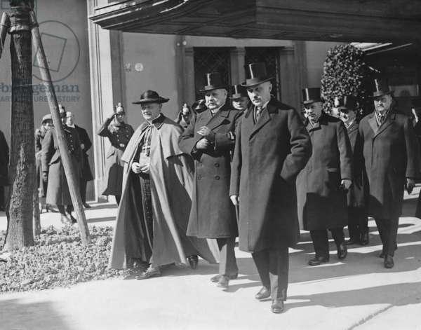 Konrad Adenauer, Paul von Hindenburg and Cardinal Schulte, 1926 (b/w photo)