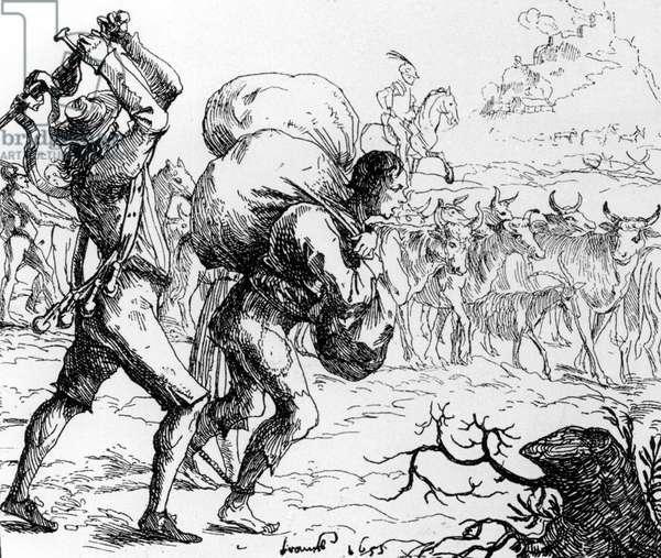 Mercenary and peasant during the Thirty Years' War, 1618-1648 (b/w photo)