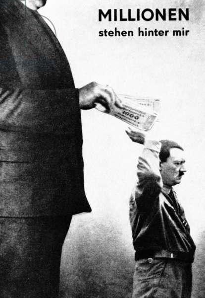Adolf Hitler caricature, 1932 (b/w photo)