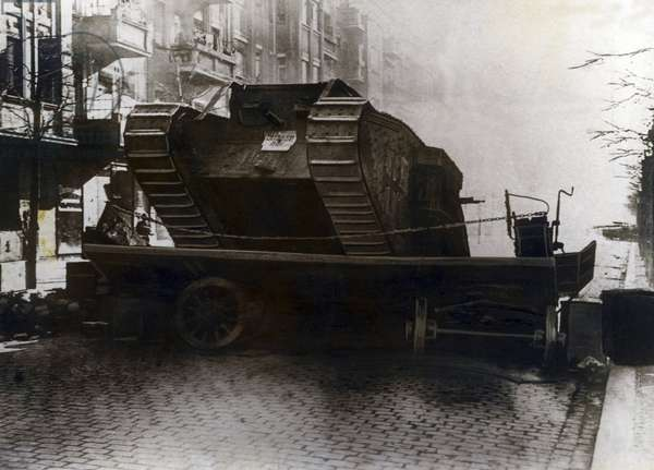 Tank of the government forces breaks through a blockade, 1919
