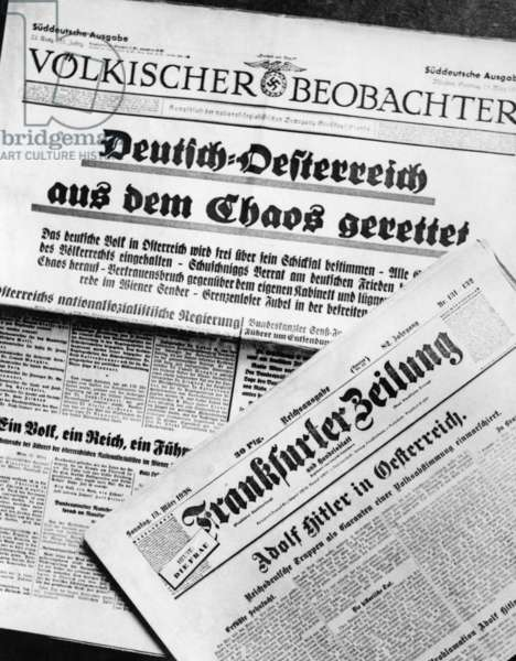 German newspapers about the Anschluss of Austria, 1938