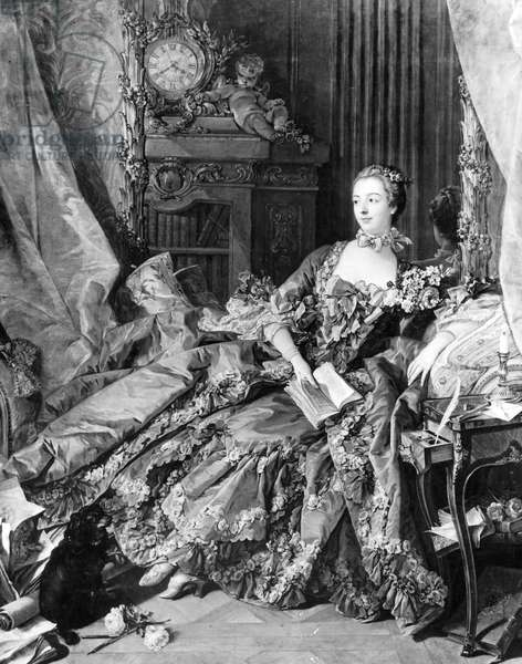 Portrait of Madame de Pompadour by François Boucher, 1756 (b/w photo)