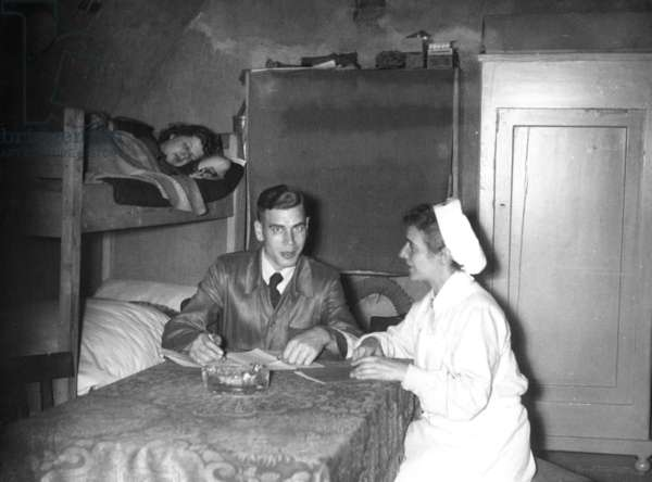 Bunker room for sick people, 1943 (b/w photo)
