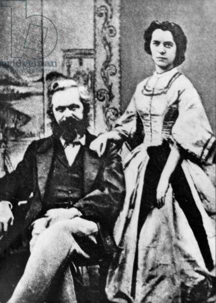 Karl Marx and Jenny Marx, 1886 (b/w photo)