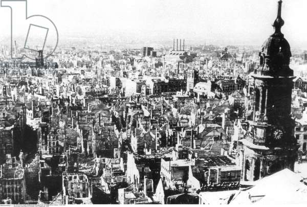 View from Dresden's town hall over the ruined city centre following Allied bombing, Dresden, after 13th February 1945, (b/w photo)