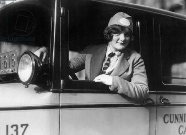 Female taxi driver in Philadelphia, 1926 (b/w photo)