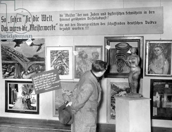 The 'Degenerate Art' exhibition in Munich, 1938 (b/w photo)