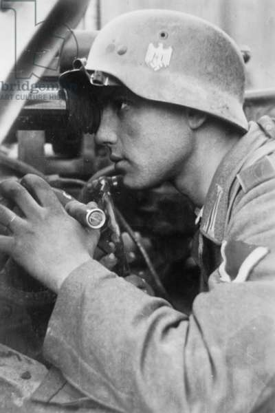A gunner of the German antitank force in the Battle of Stalingrad, October 1942 (b/w photo)