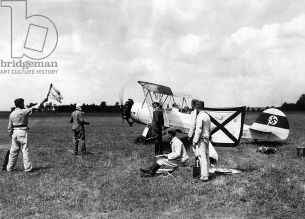 Student pilots of the Luftwaffe before the takeoff, 1935 (b/w photo)