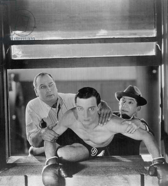 Buster Keaton the boxer, 1926 (b/w photo)