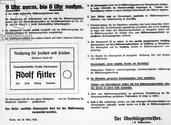 Election regulation with ballots for the Reichstag elections 1936 (b/w photo)