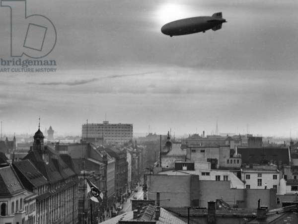 """The airship """"Graf Zeppelin"""" over Berlin, 1939 (b/w photo)"""
