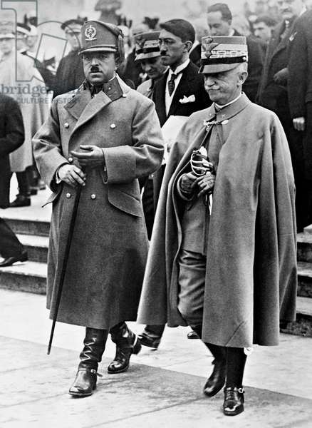 Victor Emmanuel III and Amanullah Khan, Rome, Italy, 1928 (b/w photo)