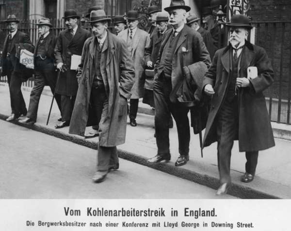 Mine owners leave Downing Street during the coal workers strike, 1921 (b/w photo)