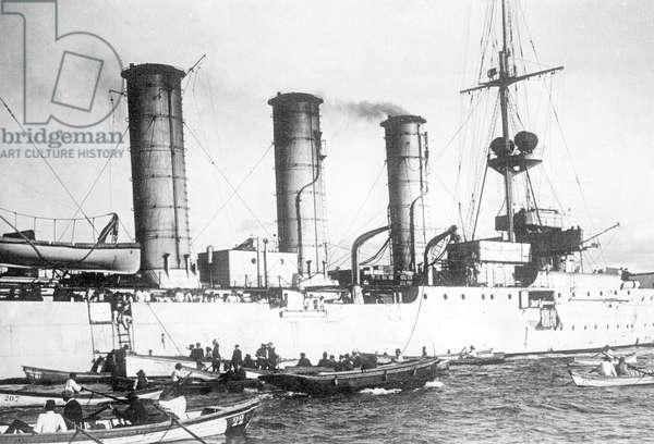 Battle of Coronel, Battle of the Falkland Islands, 1914 (b/w photo)